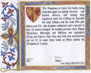 The Shire's petition to Their Royal Majesties, Berenger and Bethan.
