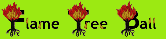 Title of Flame Tree Ball with the Capital Letters of F, T, and B looking like stylised trees on flame
